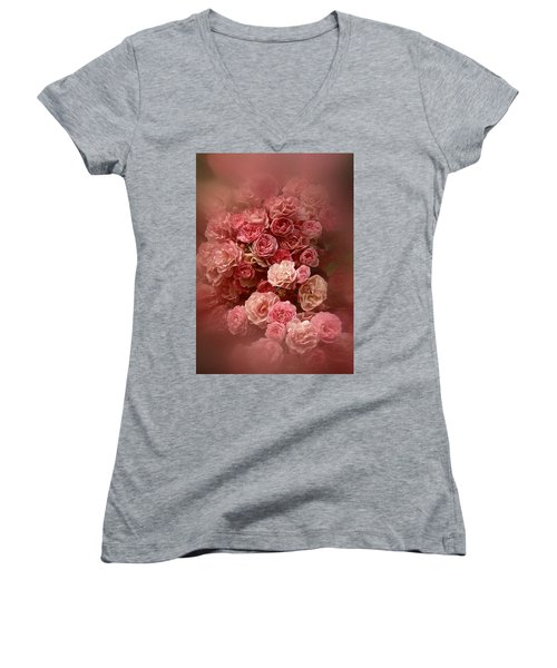 Beautiful Roses 2016 Women's V-Neck T-Shirt (Junior Cut) by Richard Cummings
