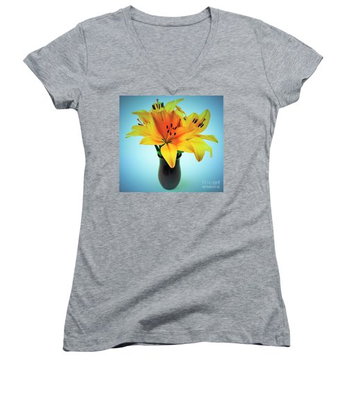 Women's V-Neck T-Shirt (Junior Cut) featuring the photograph Beautiful Royal Lilies  by Ray Shrewsberry