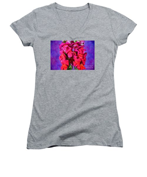 Beautiful Snapdragon Flowers Women's V-Neck T-Shirt (Junior Cut) by Ray Shrewsberry