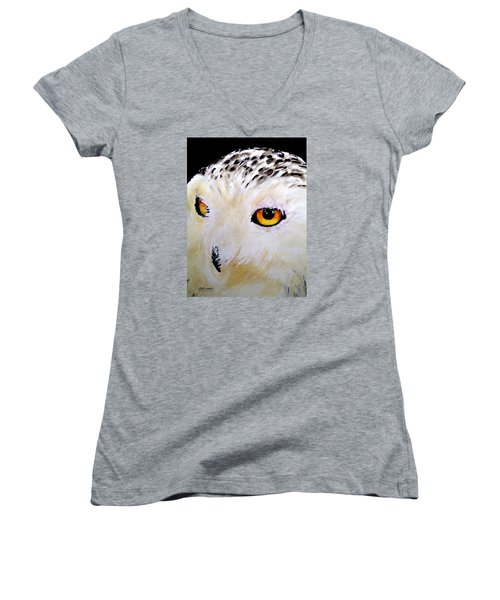 Women's V-Neck T-Shirt (Junior Cut) featuring the painting Beautiful Snowy Owl by Carol Grimes