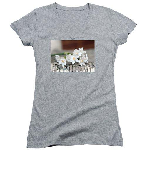 Beautiful Spring Paperwhites Women's V-Neck T-Shirt (Junior Cut) by Carla Parris