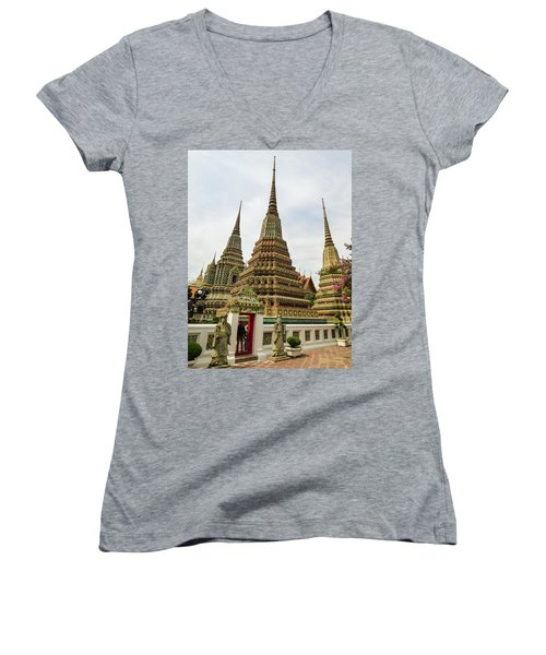Beautiful Stupas At Wat Pho Temple Women's V-Neck