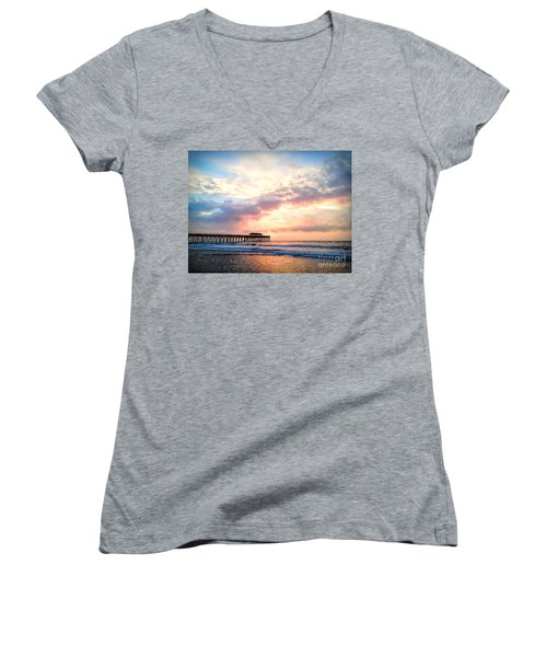 Beautiful Sunrise In Myrtle Beach South Carolina Usa Women's V-Neck T-Shirt
