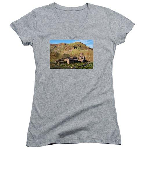 Beautiful Vorotnavank Monastery At Evening, Armenia Women's V-Neck T-Shirt (Junior Cut) by Gurgen Bakhshetsyan