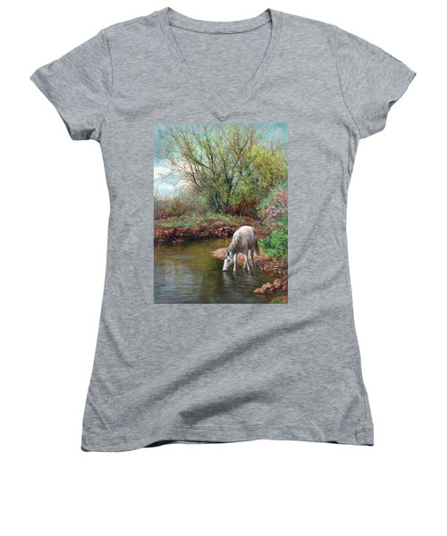 Beautiful White Horse And Enchanting Spring Women's V-Neck (Athletic Fit)