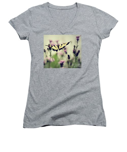 Beauty And Grace  Women's V-Neck T-Shirt (Junior Cut) by Kerri Farley