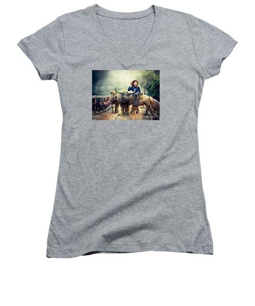Beauty And The Water Buffalo Women's V-Neck T-Shirt (Junior Cut) by Ian Gledhill