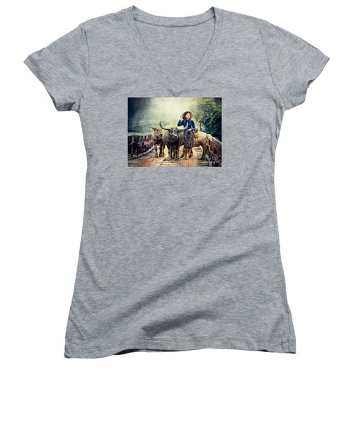 Beauty And The Water Buffalo Women's V-Neck (Athletic Fit)