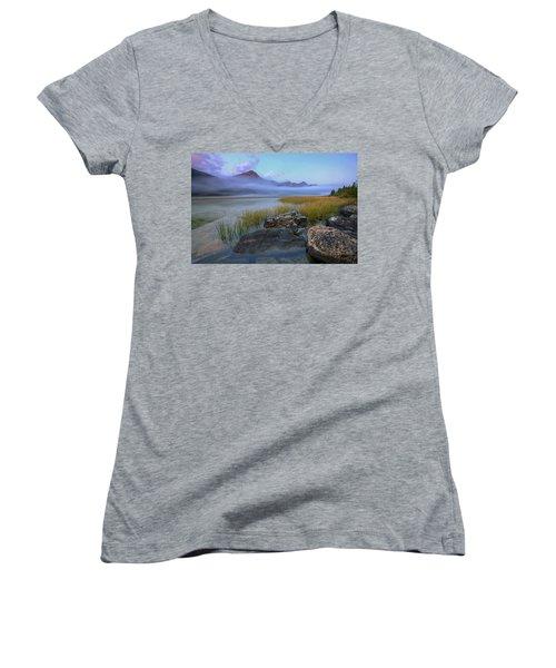 Women's V-Neck T-Shirt (Junior Cut) featuring the photograph Beauty Creek Dawn by Dan Jurak