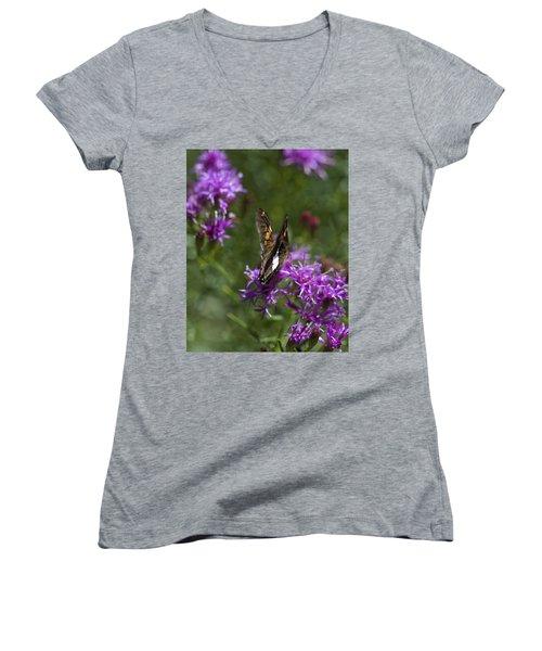 Beauty In The Garden Women's V-Neck T-Shirt (Junior Cut) by Nikki McInnes