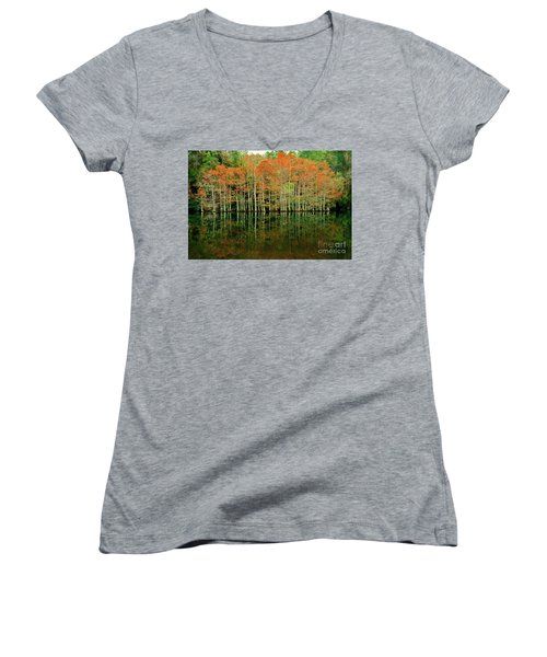 Beaver's Bend Cypress All In A Row Women's V-Neck T-Shirt (Junior Cut) by Tamyra Ayles