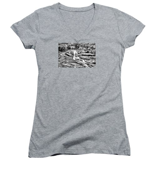 Becky Branch Falls In Black And White Women's V-Neck T-Shirt (Junior Cut) by James Potts