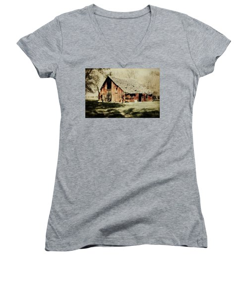 Beckys Barn 1 Women's V-Neck T-Shirt (Junior Cut) by Julie Hamilton