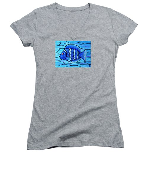 Women's V-Neck T-Shirt (Junior Cut) featuring the painting Beckys Blue Tropical Fish by Jim Harris