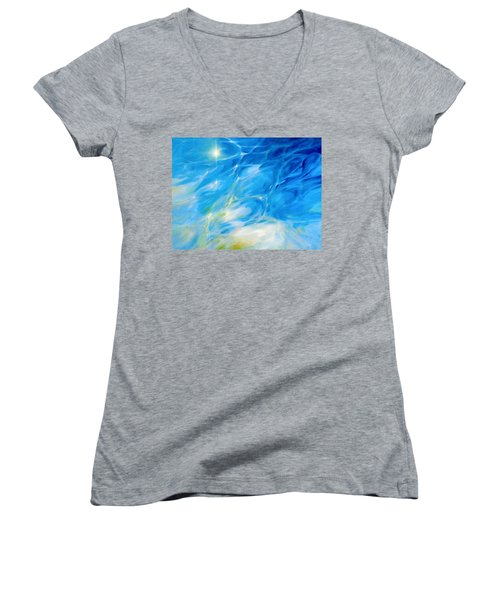Women's V-Neck T-Shirt (Junior Cut) featuring the painting Becoming Crystal Clear by Dina Dargo