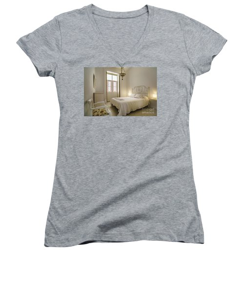 Women's V-Neck T-Shirt featuring the photograph Bedroom Apartment In The Heart Of Cadiz by Pablo Avanzini