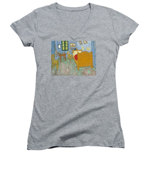 Women's V-Neck featuring the painting Bedroom At Arles by Van Gogh