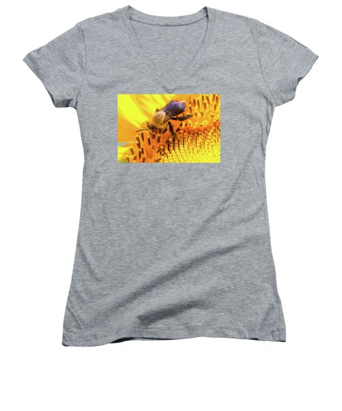 Bee And Sunflower Women's V-Neck (Athletic Fit)