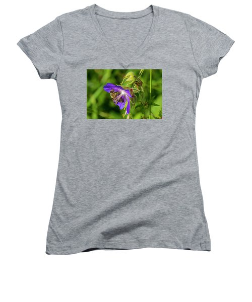 Bee At Work Women's V-Neck T-Shirt