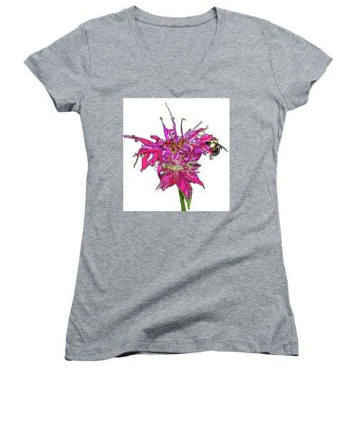 Bee Balm Women's V-Neck T-Shirt (Junior Cut) by Jamie Downs