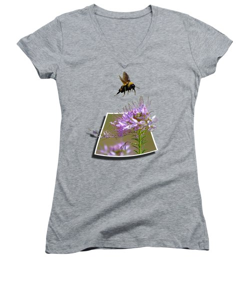 Bee Free Women's V-Neck T-Shirt (Junior Cut) by Shane Bechler