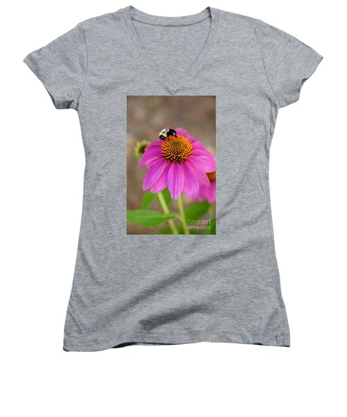 Bee Happy Women's V-Neck (Athletic Fit)