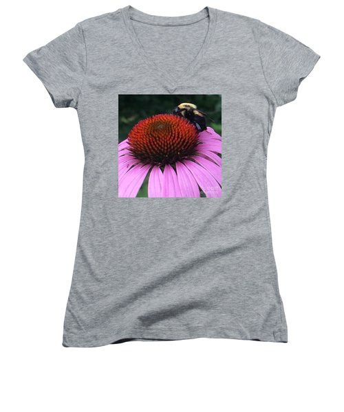 Women's V-Neck T-Shirt (Junior Cut) featuring the photograph Bee On Flower By Saribelle Rodriguez by Saribelle Rodriguez