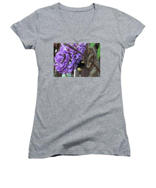 Bee On Native Wisteria Women's V-Neck T-Shirt (Junior Cut) by Angela Annas