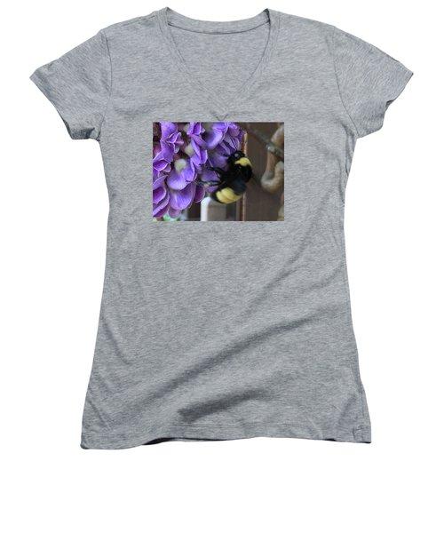 Bee On Native Wisteria I Women's V-Neck T-Shirt (Junior Cut) by Angela Annas