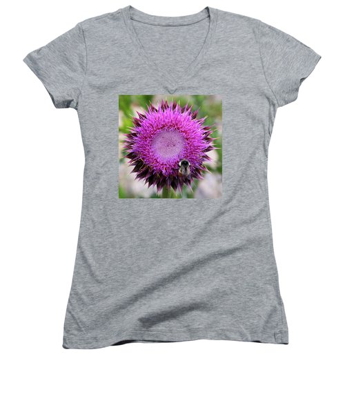 Women's V-Neck T-Shirt featuring the photograph Bee On Thistle by David Chandler