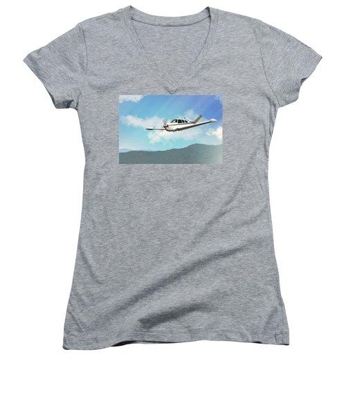 Beechcraft Bonanza V Tail Women's V-Neck T-Shirt