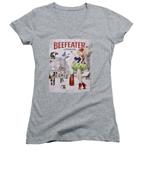 Beefeater Gin Women's V-Neck T-Shirt (Junior Cut) by Mary Machare