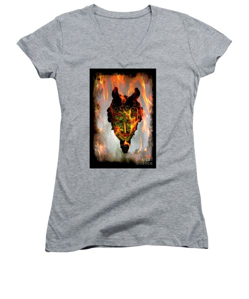 Women's V-Neck T-Shirt (Junior Cut) featuring the photograph Beelzebub Iv by Al Bourassa