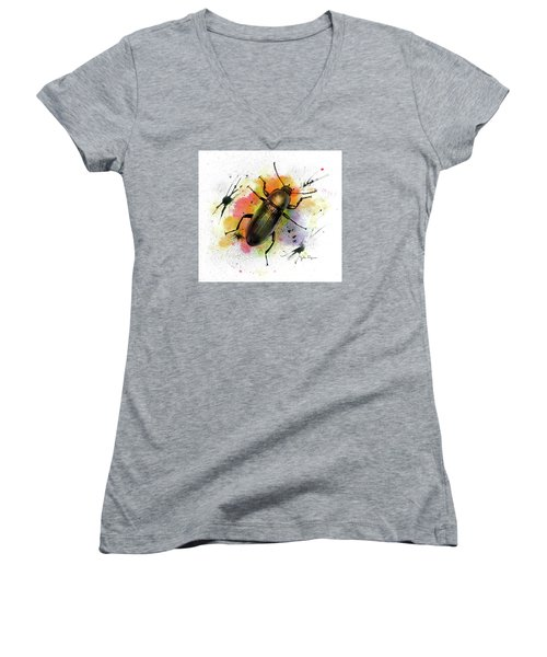 Beetle Illustration Women's V-Neck (Athletic Fit)