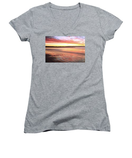Before Sunrise At First Beach Women's V-Neck T-Shirt (Junior Cut) by Roupen  Baker