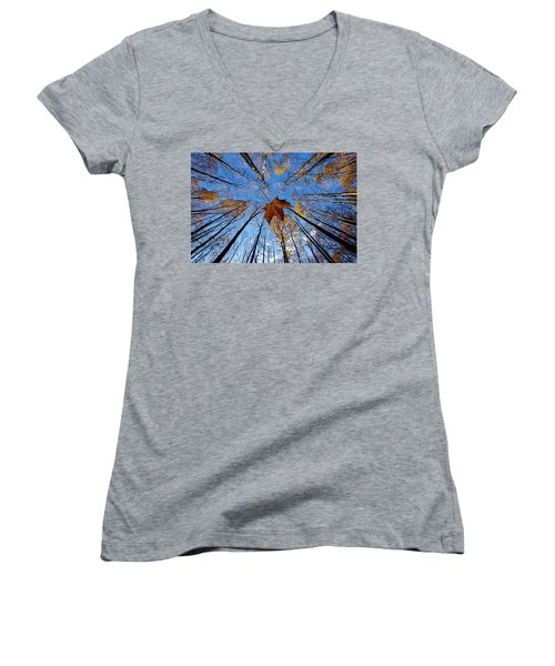 Women's V-Neck T-Shirt (Junior Cut) featuring the photograph Before The First Snow by Mircea Costina Photography