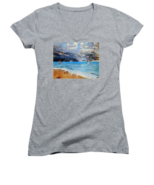 Women's V-Neck T-Shirt (Junior Cut) featuring the painting Before The Storm by Vicky Tarcau