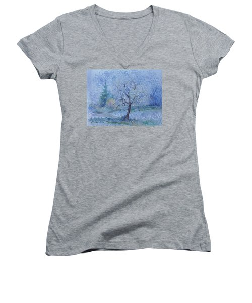 Women's V-Neck T-Shirt (Junior Cut) featuring the painting Begining Of Another Winter by Anna  Duyunova