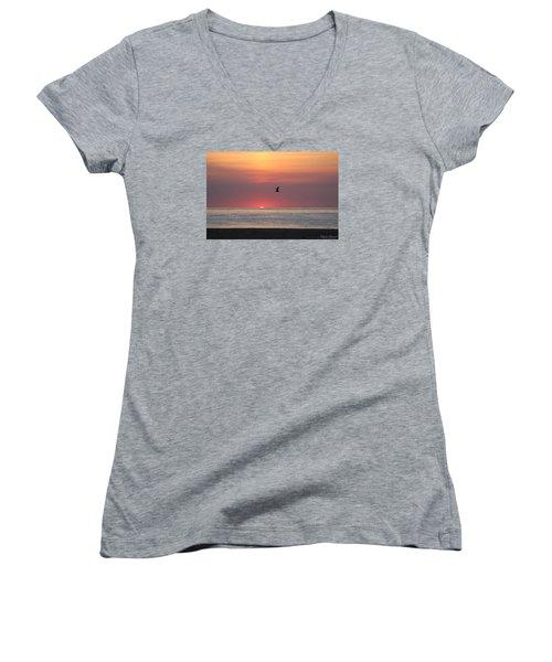 Beginning The Day Women's V-Neck T-Shirt (Junior Cut) by Robert Banach