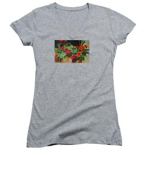 Begonias Flowers Colorful Original Painting Women's V-Neck T-Shirt (Junior Cut) by Elizabeth Sawyer