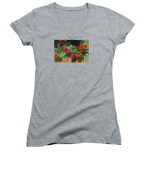 Begonias Flowers Colorful Original Painting Women's V-Neck T-Shirt