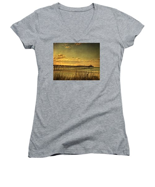 Behind Cherry Grove Pier  Women's V-Neck T-Shirt