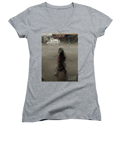 Women's V-Neck T-Shirt (Junior Cut) featuring the photograph Behind Glass by Trena Mara