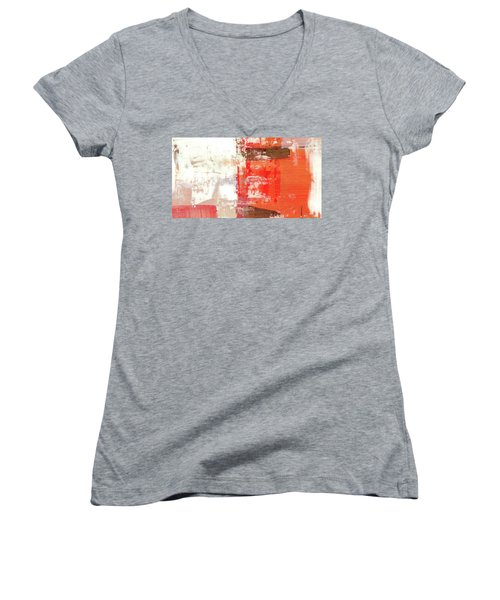 Behind The Corner - Warm Linear Abstract Painting Women's V-Neck T-Shirt (Junior Cut) by Modern Art Prints