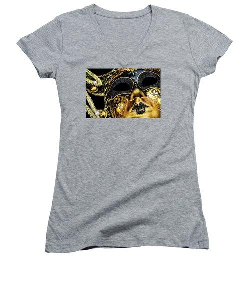 Behind The Mask Women's V-Neck T-Shirt (Junior Cut) by Carolyn Marshall
