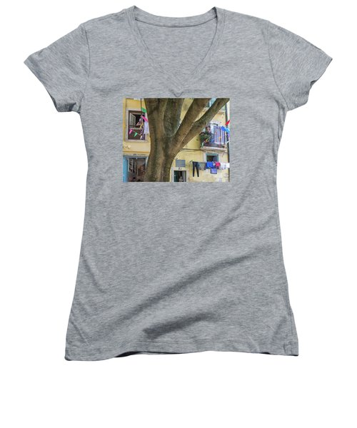 Women's V-Neck T-Shirt (Junior Cut) featuring the photograph Behind The Tree by Patricia Schaefer