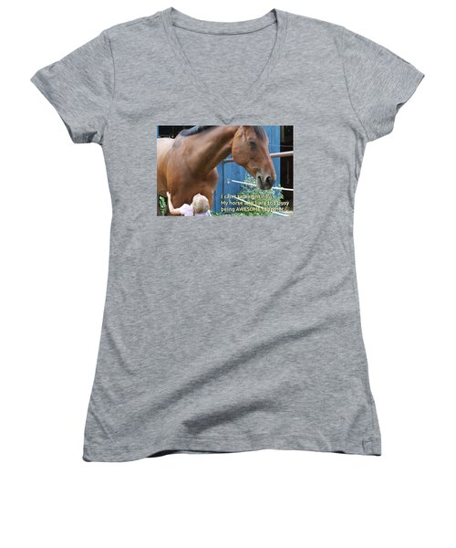 Being Awesome With My Horse Women's V-Neck