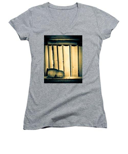 Being John Malkovich Women's V-Neck T-Shirt (Junior Cut) by Bob Orsillo
