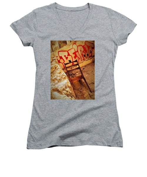 Beirut Graffiti With A Lonely Chair  Women's V-Neck T-Shirt
