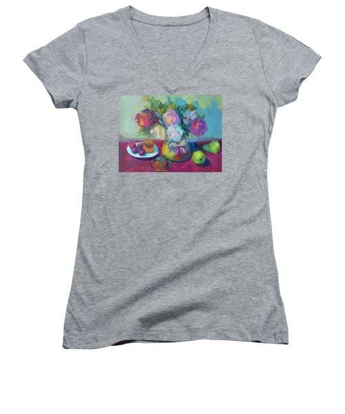 Women's V-Neck T-Shirt (Junior Cut) featuring the painting Belgian Creamer And Sugar by Diane McClary